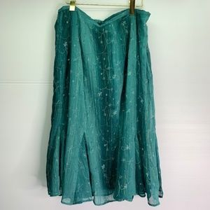 Teal Embroidered Fit & Flare Skirt 16W Plus Size